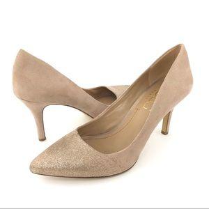 BCBG nude silver glitter sparkle heels pumps